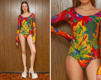 Vintage 90s NEW Red Orange Green Blue Tie Dye Rainbow Cotton GK Abstract Flower Print Long Sleeve Aerobic Dance Leotard Unitard Bodysuit S M