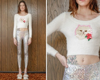 Vintage 90s White Pink Fuzzy Textured Soft Sequin Kitty Cat Iridescent Metallic Sequined Patch Applique Plush Long Sleeve Crop Sweater Top S