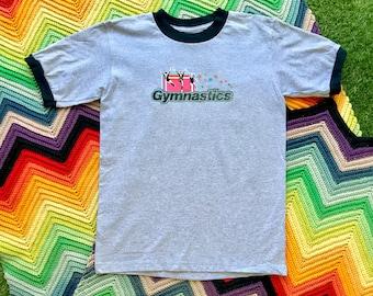 Vintage 90s Unisex Gray Black Glitter Gymnastics Ringer Crewneck Heat Transfer Graphic Novelty Rainbow Star Cotton Short Sleeve T-Shirt S M