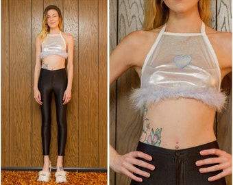 Kawaii Heart Love Holiday Shiny White Silver Pretty Tinsel Easter Pastel Teal Lavender Blue Iridescent Holographic Crop Halter Top XXS XS