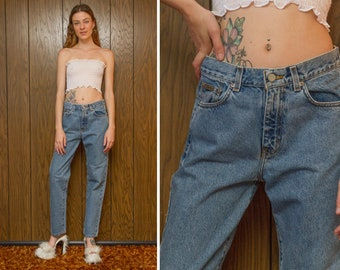 Vintage 90s Calvin Klein Jeans CK Medium Stonewash Blue High Waist Long Length Boot Cut Relaxed Zip Fly Cotton Denim Boyfriend Jean 28 x 30