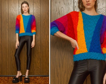 Vintage 80s Gitano Knit Textured Graphic Triangle Rainbow Striped Multi Color Boatneck Lightweight Drop Shoulder Half Dolman Sleeve Sweater