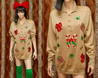 Candy Flip - Vintage 80s Suzelle Shoulder Pads Sequin Metallic Gold Long Sleeve Button Down Collar Ugly Christmas Sweater Green Red L