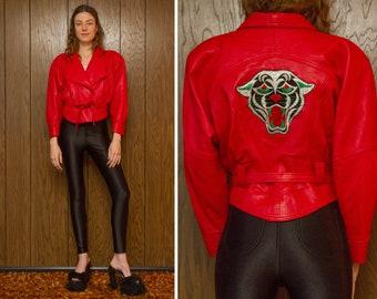 Vintage 80s Soft Genuine Red Belted Leather Black Velvet Silk Embroidered Panther Crop Cropped Dolman Power Shoulder Sleeve Jacket Coat XS S