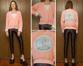 Vintage 90s Pastel Peach Pink Rainbow Embroidered Unicorn Pegasus Needlepoint Back Patch Faux Fur Long Sleeve Cuffs Button Cardigan Sweater