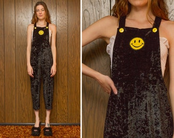 81e4b91d1126 Vintage 90s Black Crushed Poly Velvet Yellow Happy Face Overall Bib  Sleeveless Side Boob Onsie Romper Ankle Length Button Jumpsuit S