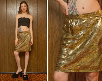 Vintage 80s 90s Banner NY Black Gold Sequined Shiny Metallic Tinsel Elastic Stretch Waist Knee Length Lightweight Holiday Pencil Skirt S M