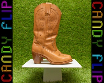 Vintage 70s 80s Dexter USA Womens Cognac Tan Blonde Light Brown Leather Mid Calf Tall Shalf Cowgirl Cowboy Rodeo Western Wood Heel Boots 5.5