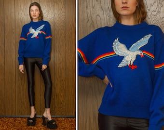Vintage 70s Royal Blue Rainbow Embroidered Silver Metallic Flying Eagle Bird Silk Velvet Patch Striped Long Sleeve Crewneck Ski Sweater M L