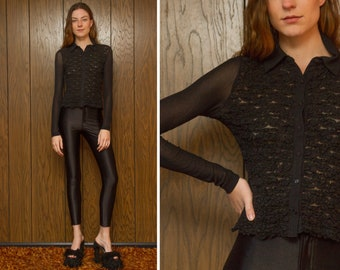 Vintage 90s Y2K Black Mesh Sheer Floral Ruffle Front Panel Textured 3-D Knit Retro Tuxedo Button Collared Long Sleeve Top Blouse Shirt XS S