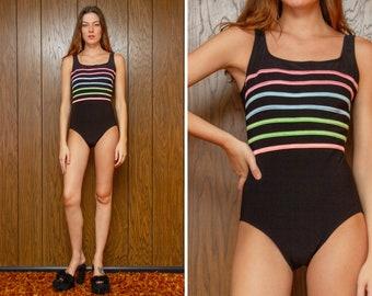 Vintage 90s Longitude Brand Pastel Rainbow Striped Ribbed Black Scoop Back Shiny One Piece Shelf Bra Classic Preppy Swimsuit Bodysuit S M 10
