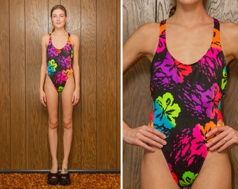 Vintage 80s 90s OP Neon Rainbow Black Low Back High Hi Cut Bow Graphic Hibiscus Shiny Cut Out One Piece Swimsuit Flower Tropical S M