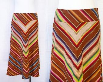 Vintage 90s Y2K Ralph Lauren Amber Red Brown Cogniac Rainbow Serape Chevron Striped Below the Knee Mid Calf Length Side Zip Tulip Skirt 12 L
