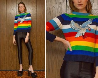 Vintage 70s 80s Blue Rainbow Embroidered Silver Metallic Flying Eagle Bird Silk Velvet Patch Striped Long Sleeve Crewneck Ski Sweater XS S
