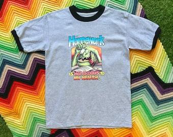 Vintage 90s Unisex Gray Black Homework Hazordous Ringer Crewneck Heat Transfer Graphic Funny School Novelty Cotton Short Sleeve T-Shirt S M