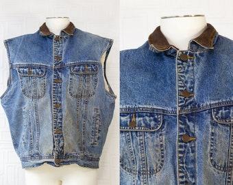 Vintage 80s 90s Original Gap Brand Denim Blue Stonewash Jean Sleeveless Button Brown Leather Collar Trim Sherpa Lined Grunge Pocket Vest XL