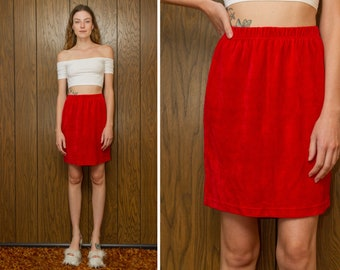 Vintage 90s Bright Red Talbots Petite Soft Terry Cloth High Waist Elastic Stretch A-Line Pencil Above the Knee Gold Button Mini Skirt S M L