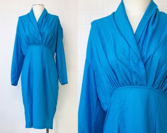 Vintage 80s Aqua Blue Thin Sheer Shiny Striped Peplum Knee Length A Line Pleated Faux Wrap Front Long Sleeve Cowl V Neck Pencil Dress M L