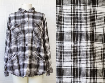 Vintage 90s Black White Plaid Striped Square Textured Thick Cotton Soft Pocket Button Collared Long Sleeve Plush Jacket Shirt Top S M L