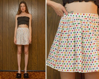 Vintage 80s Rainbow Polka Dot White Lightweight Sheer Primary Color Red Blue Yellow Green Elastic High Waist Mini Circle Pleated Skirt XS S