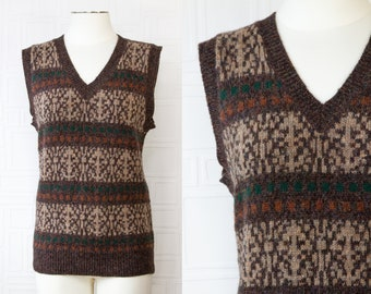 Vintage 90s Four Winds Brand Shetland Wool Green Brown Gray Orange Striped Abstract Pattern Sleeveless V-Neck Sweater Vest Small * DAMAGED *