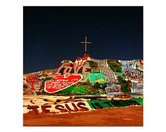 Print Only - Salvation Mountain Night God Is Love Jesus Christian Desert California Film Color 120mm Slab City Landscape Photography Square
