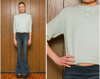 Vintage 80s Junior Connection by Mervyn's Hipster Preppy Teal Aqua Pastel Blue Crop 3/4 Sleeve Button Up Crop Sweater Blouse Shoulder Pads S