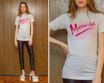 Vintage 70s 80s Golden Hi-Cru by Stedman Cotton Small Tall Thin Cut Iron On Pink Red Muscle Script Checker Graphic Exercise T-Shirt Top XS S
