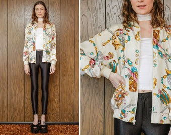 Vintage 80s 90s Pastel Teal Turquoise Brown Cream Gold Jewelry Jewel Royal Pearl Shells Treasure Sea Vapor Print Shiny Windbreaker Jacket OS
