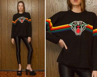 Vintage 80s Black Panther Rainbow Striped Velvet Metallic Silver Embroidered Patch Big Cat Long Sleeve Lightweight Crewneck Ski Sweater M L