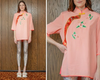 Vintage Neon Coral Pink Flower Blossom Leaf Floral Leaf Shiny Thai Chinese Shoulder Pad 3/4 Long Sleeve High Neck Metallic Lined Blouse Top