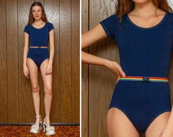 Vintage 80s 90s Vibes Navy Blue Rainbow Striped Belted Attached Belt Buckle Short Sleeve Dance Aerobic Leotard Unitard Bodysuit S M
