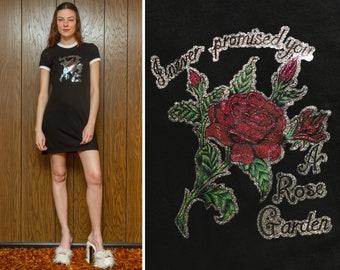 Never Promised You a Rose Garden Metallic Glitter Heat Press Valentine's Day Short Sleeve Black White Y2K Mini Ringer T Shirt Dress XS - M