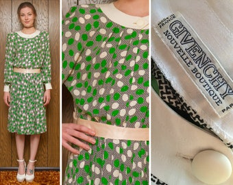 Vintage 70s 80s Givenchy Nouvelle Boutique Paris Drop Waist Silk Green Black White Cream Pastel Pink Belt Belted Long Sleeve Pleated Dress M
