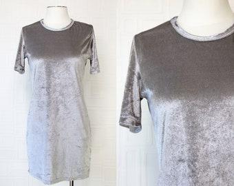 Vintage 90s Y2K Steel Shiny Gray Poly Velvet Textured Lightweight Grunge Short Sleeve Above Knee Comfortable T-Shirt Style Mini Dress S M
