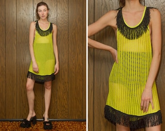 Metallic Black Fringe Mesh Sheer Fishnet Lime Neon Yellow Green Racer Back Sleeveless Side Boob Mini A Line Cover Up Tank Dress XS S M L O/S