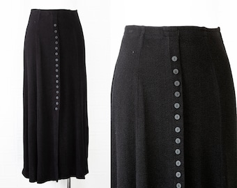 Vintage 90s Y2K Black Textured High Elastic Waist Mid Calf Ankle Length Unlined Lightweight Front Button Grunge Gothic Maxi Skirt fits S M L