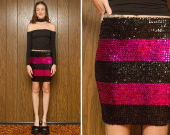 Vintage 80s 90s Black Magenta Pink Stripe Striped Body Con Sequin Sequined High Waist Pencil Fitted Above The Knee Sexy Mini Skirt XS S M