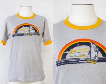 Vintage 80s NEW Deadstock Gray Gold Yellow Crewneck Primary Color Rainbow Nautical Sailing Heat Press Ringer Short Sleeve T-shirt Shirt S M