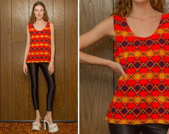 Vintage 70s Primary Color Block Bright Red Navy Blue Yellow Diamond Geometric 3-D Textured Sleeveless Side Zip Tank Top Blouse Vest Top L XL