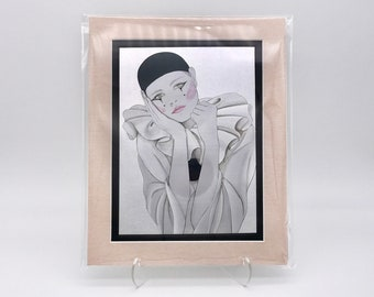Vintage Sad Clown French Mime Circus Silver Shiny Metallic Foil Etching Art Print Silk Pink Double Mat Ready to Frame 8x10 Image 7.5 x 5.5