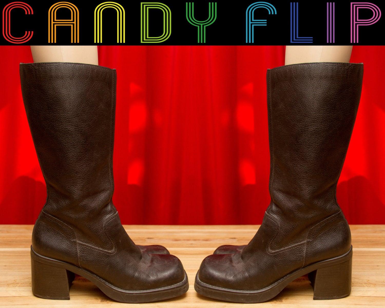 7f0e7b28871 Vintage 90s MIA Club Kid Chunky Platform Pebbled Leather Go Go Boots Chunky  Heel Black Mid Calf Bratz Grunge Preppy Women s Boots 11