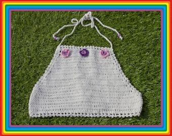 Vintage Deadstock 90s White Purple Pink Lavender Summer Festival Crochet Sheer Mesh Beaded 3-D Flower Cotton Crop Halter Top One Size S M L