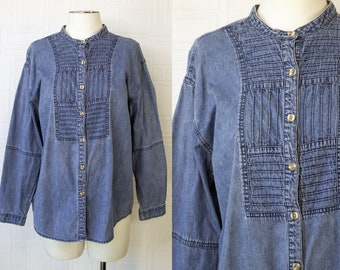 Vintage 90s Y2K Soft Lightweight Blue Denim Jean J. Jill Patwork Distressed Striped Button High Neck Long Sleeve Casual Blouse Top S M L