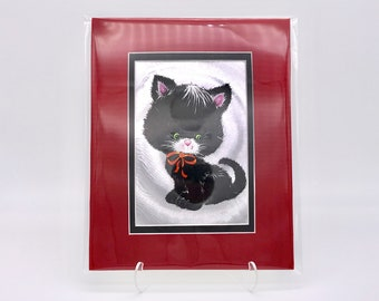 Vintage Black White Tuxedo Kitten Silver Cat Foil Etching Art Print Red Silk Fabric Black Double Mat Ready to Frame in 8x10 Image 4.5 x 6.5