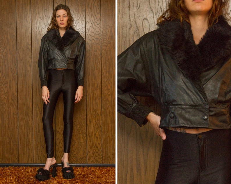 Vintage 90s Black Leather Removable Faux Fur Collar Gold Copper Sequined Beaded Horse Back Patch Button Lined Motorcycle Crop Suede Jacket M