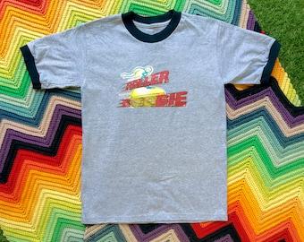 Vintage Unisex Cute Gray Black Glitter Roller Boogie Skate Ringer Crewneck Glitter Heat Transfer Thick Cotton Short Sleeve T-Shirt XS S