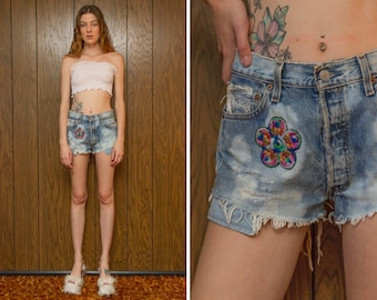 Vintage 90s Levi's Distressed Acid Wash Bleached Frayed Flower Patch Embroidered Patched Pink Blue Button Fly Cut Off Festival Shorts S M