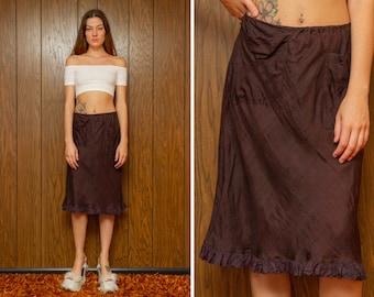 Vintage 90s Thrashed Distressed Faded Black Purple Grunge Lightweight Silk Ruffle Front Pocket Elastic Waist A Line Knee Length Skirt XS S