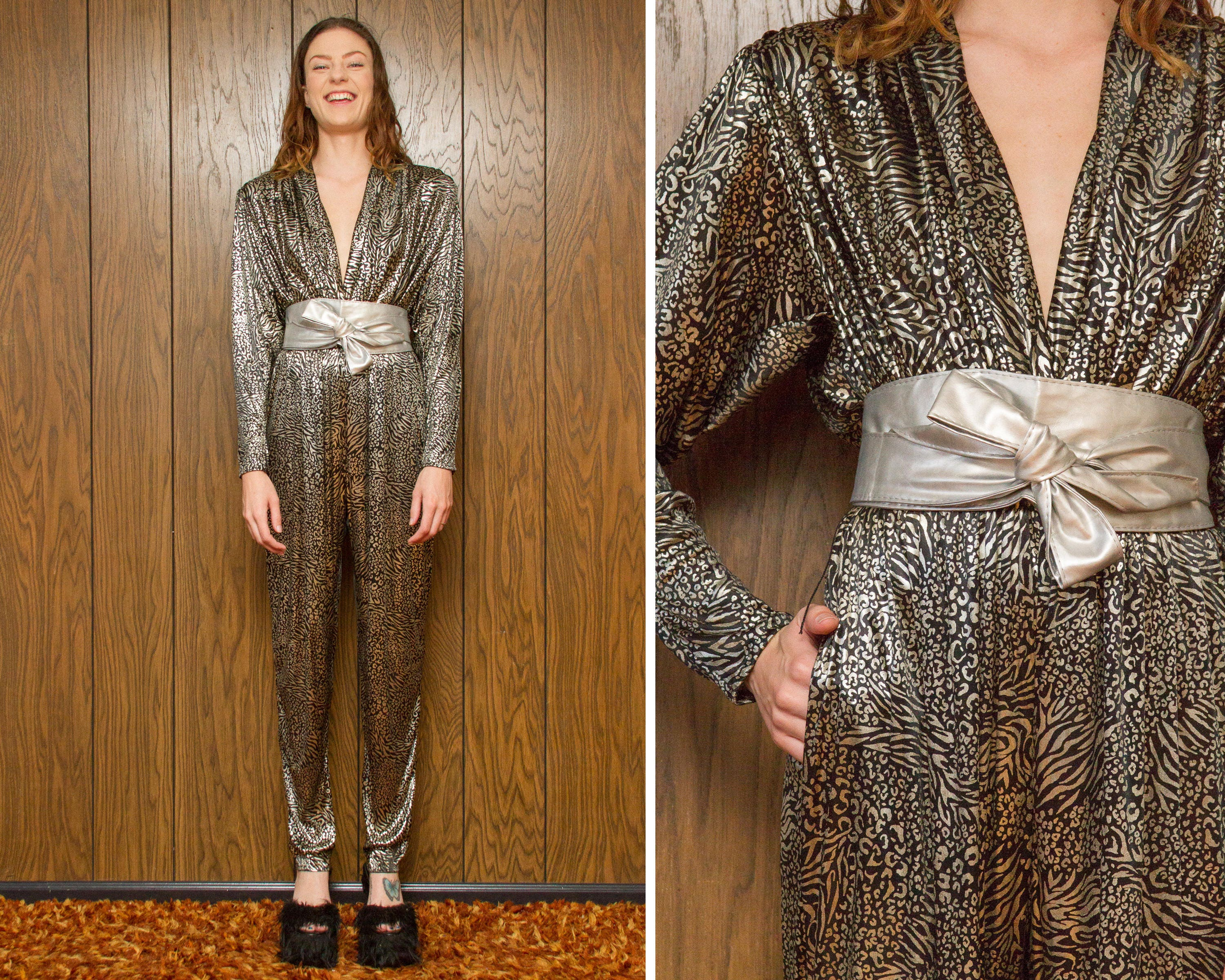 70620ed67251 Vintage 80s Rothschild Leopard Animal Zebra Silver Metallic Shiny Lame  Black Harem Belted Shoulder Pad Plunge V Neck Jumpsuit Pantsuit S M L